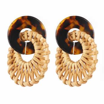 New Handmade Bohemia Round Rattan Drop Earrings For Women Straw Weave Rattan Knit Vine Geometric Dangle Earrings Fashion Jewelry