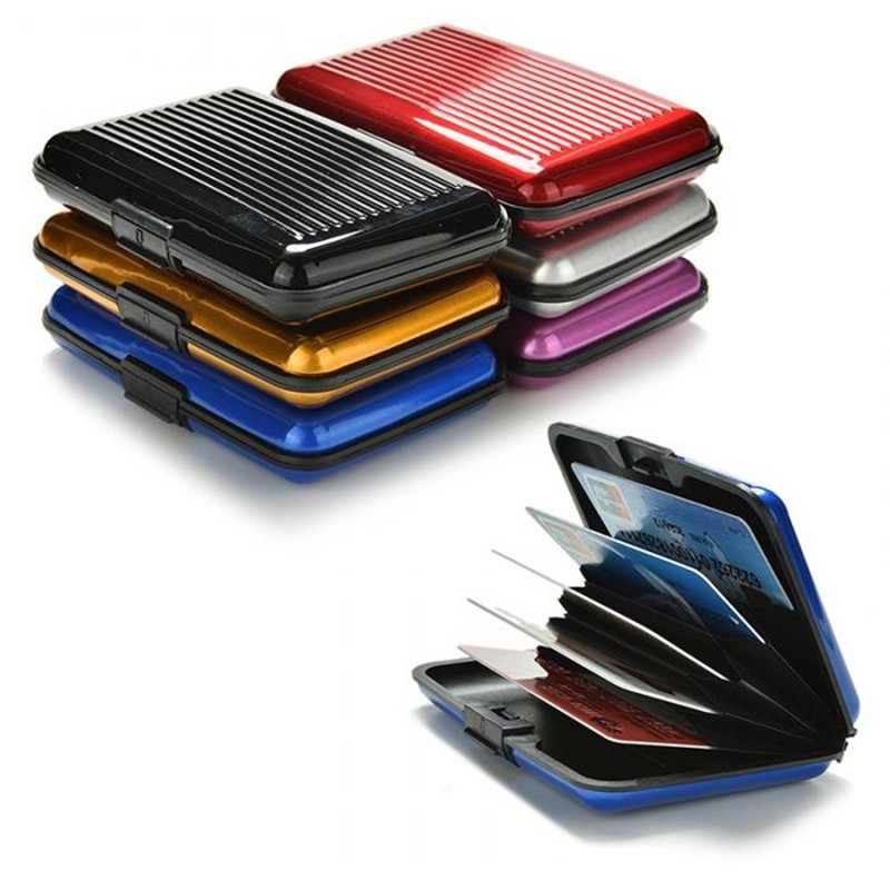 PURDORED 1 Pc Solid Color Aluminum Card Holder Men Credit Card Holder Case Bank Card Blocking Hard Case Wallet
