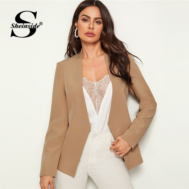 Sheinside Elegant Open Front Blazer Women 2019 Autumn Khaki Asymmetrical Cut Blazers Office Ladies Solid Minimalist Blazer