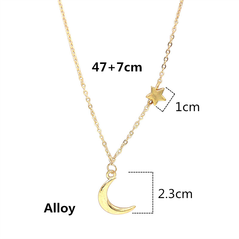 Ahmed Simple Star Moon Pendant Necklace For Women New Bijoux Maxi Statement Necklaces Collier Fashion Jewelry
