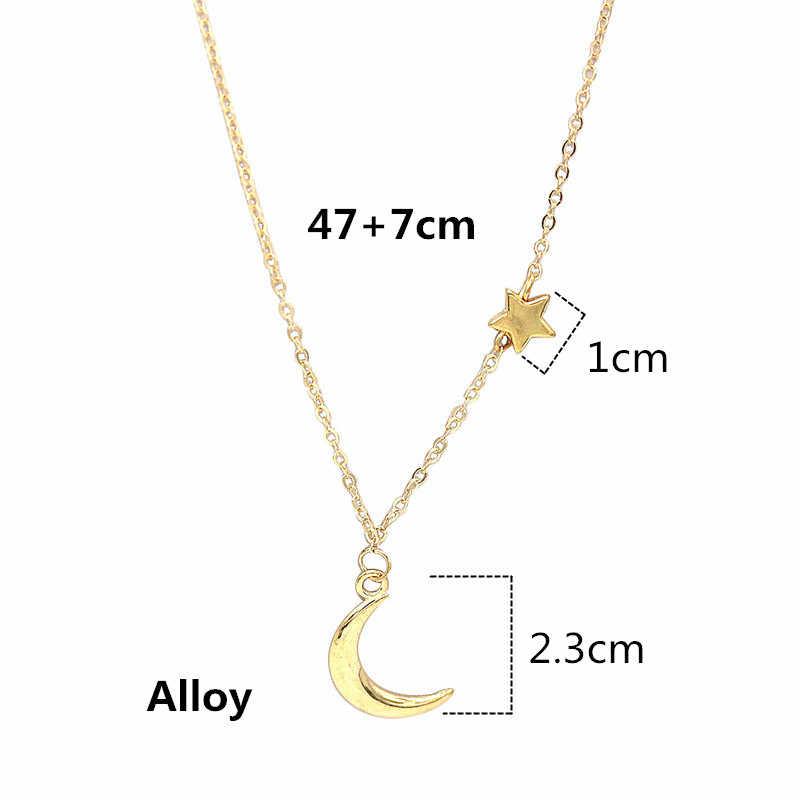 Ahmed prosta gwiazda i wisiorek z księżycem naszyjnik dla kobiet nowy Bijoux Maxi naszyjniki Collier moda biżuteria