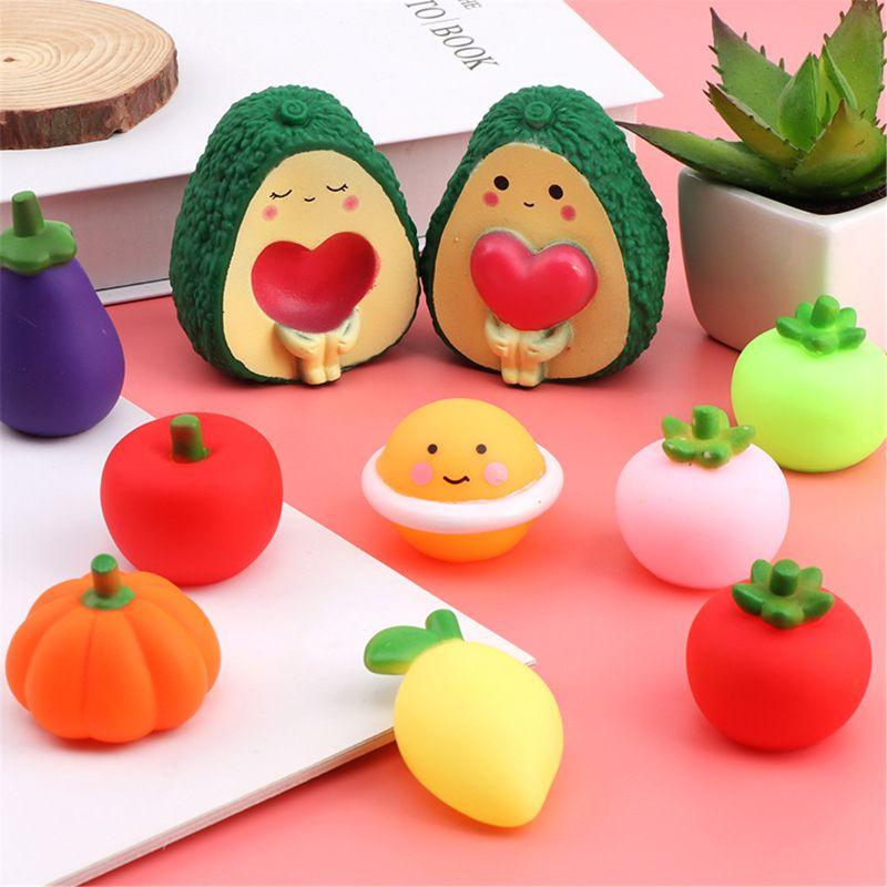 Cute Avocado Antistress Ball Squeeze BiBi Sound Mini Bath Toy Stress Relief