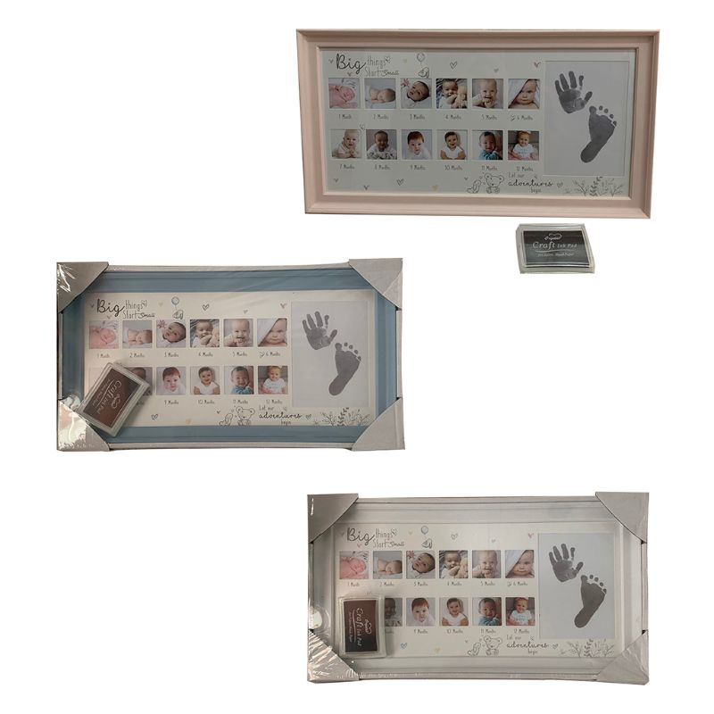 Handprint Footprint Photo Frame New Baby 12 Months Hand Foot Print Commemorative Photo Frame Newborn Growth Record K1MA