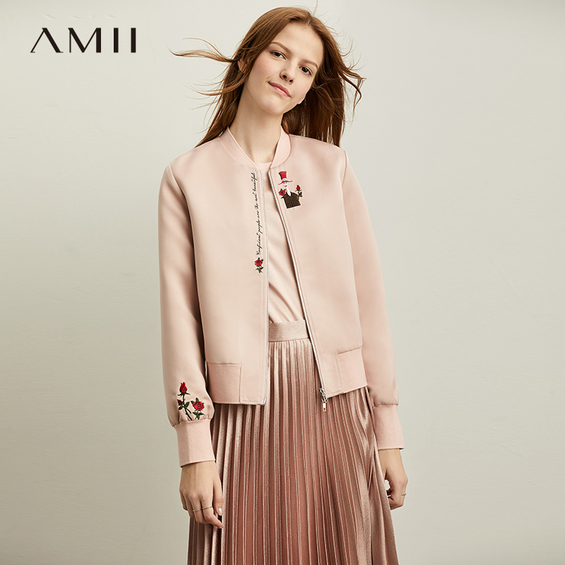 Amii Spring Minimal Pink Embroidery Pink Jacket Women Fahion Loose Zipper Women's Jackets  12030885