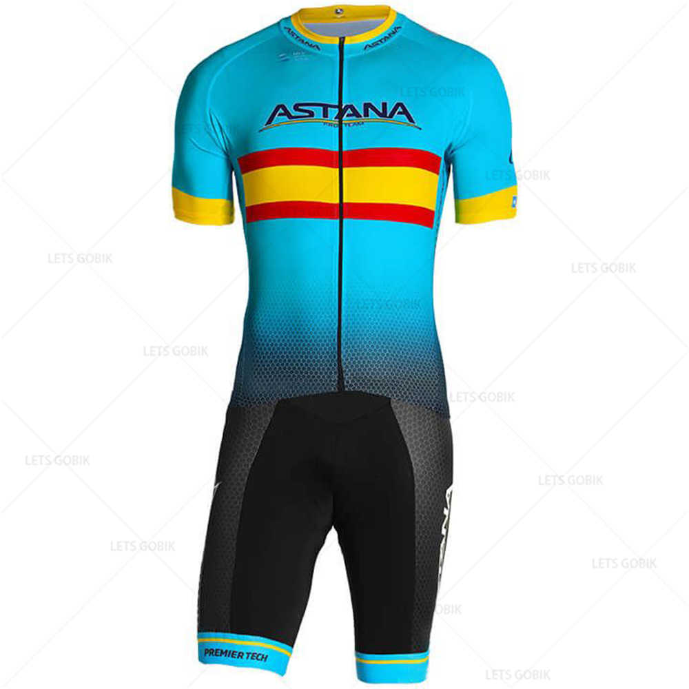 ASTANA PRO TEAM Spanish Champion 2019 Cycling Jersey Set (2 Pieces) Summer Short Sleeve Ropa Ciclismo Hombre Cycling Clothing