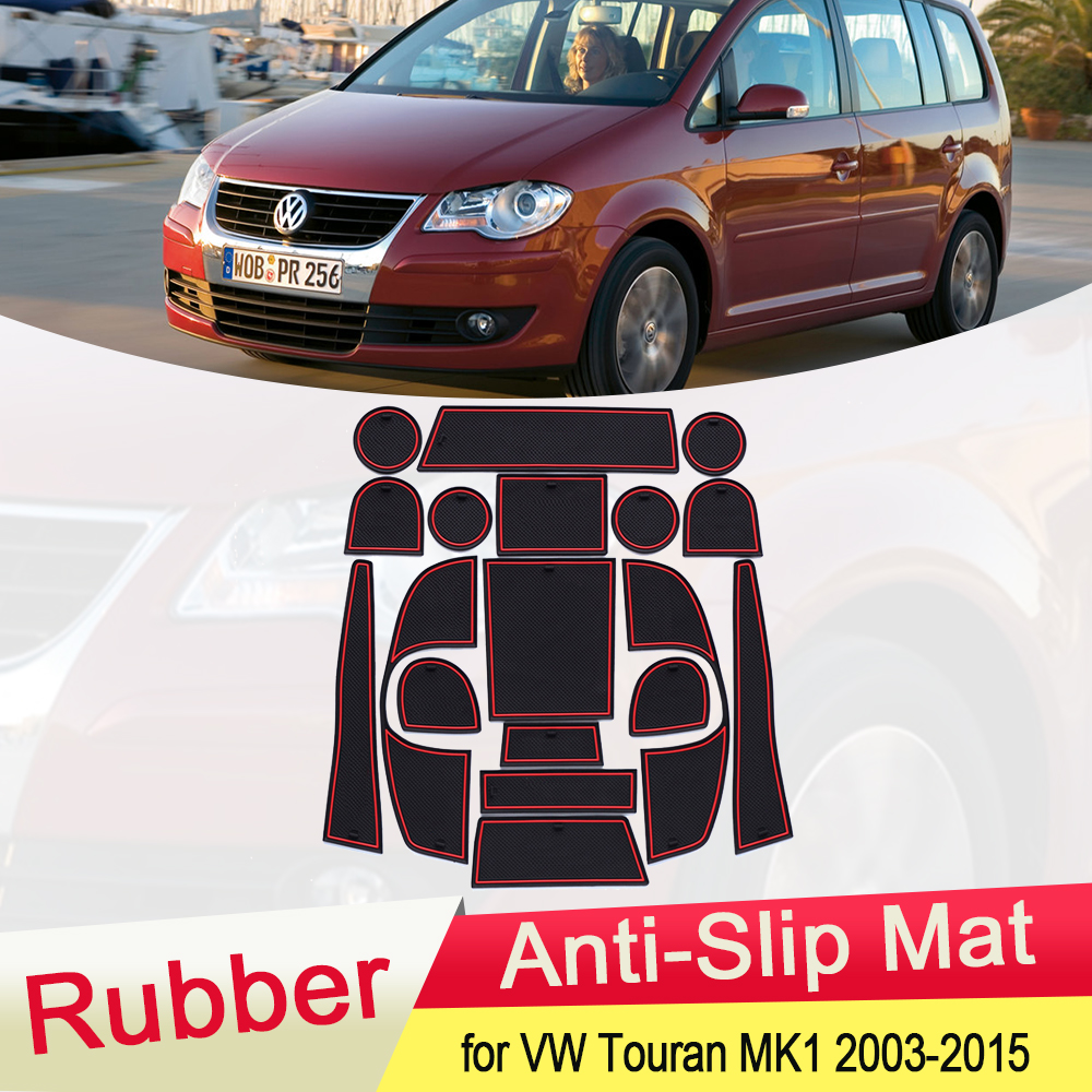for VW Volkswagen Touran MK1 2003 2015 Rubber Anti-slip Mat Door Groove Cup pad Gate slot Coaster Car Accessories 2004 2005 2006