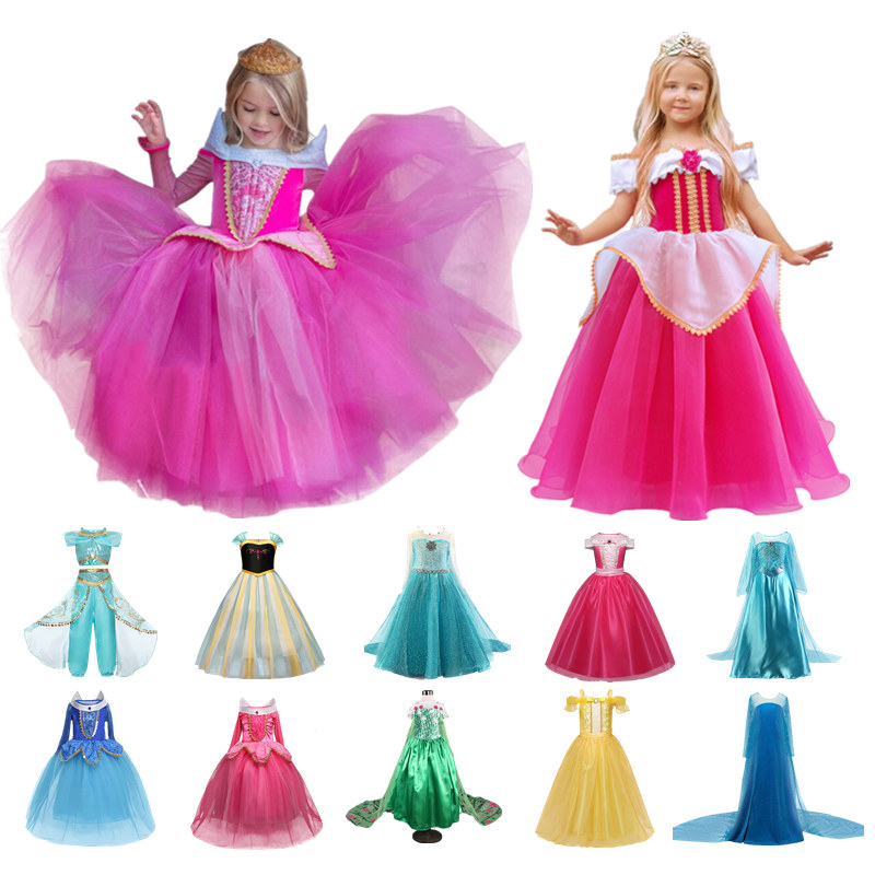 Fancy Girls Dress Halloween Cosplay Sleeping Beauty Princess Dresses Carnival Role Play Girl Long Sleeve Prom Gown Costume