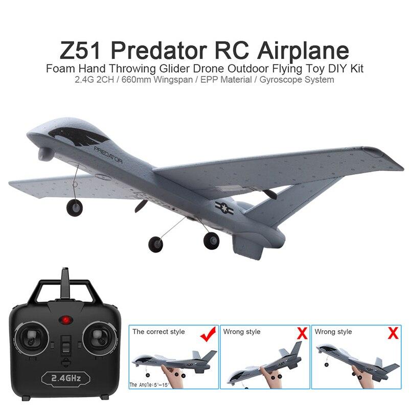 Avião rc avião z51 com câmera 2mp hd ou nenhuma câmera 20 minutos fligt planadores de tempo com led mão jogando wingspan espuma avião