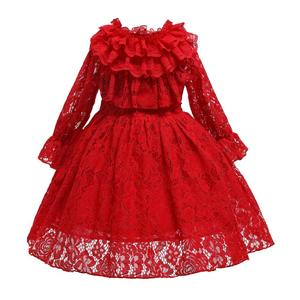 New Princess Lace Dress Kids Flower Embroidery Dress For Girls Vintage Children Dresses For Wedding Party Formal Ball Gown 2-10T