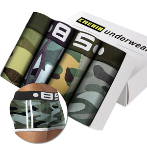 Camouflage 4Pcs Lot Men Boxer Underwear Cotton Soft Cueca Male Panties Sexy Slip Cueca Male Panties Hip Pouch Boxershorts Cuecas(China)