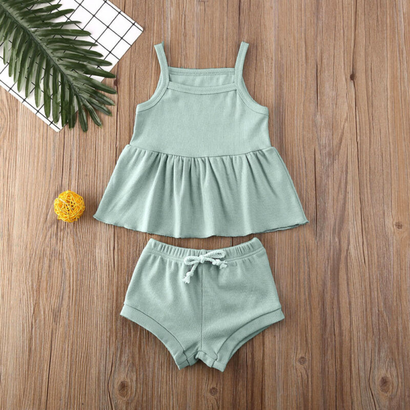 CANIS Summer 2PCS Infant Baby Girl Clothes Solid Color Sleeveless Ruffles Tops Dress+Bowknot Shorts Pants Outfit