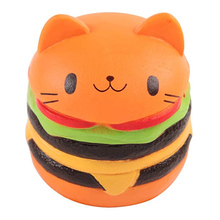 Jumbo Cat Face Burger Squishy Simulated Bread PU Scented Soft Slow Rising Squeeze Toys Stress Relief  Kid Toy Gift 1PCS