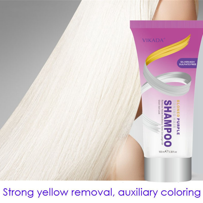 100ml Blond Purple Toning Shampoo Hair Care Remove Yellow Purple Toner To Silver Gray Blonde Bleached Gray Hair Dye New Arrival