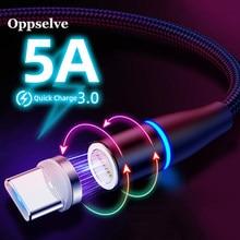 Oppselve 5A Magnetische Kabel LED USB Typ C Kabel Super Schnelle Lade Kabel Typ-C Daten Cavo für Huawei xiaomi Redmi Magnetico
