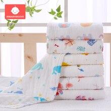 90×90cm Muslin Cotton Baby Swaddle Blanket Soft Wrap Sleepsacks Cartoon Newborn Infant Bath Gauze Towel Bedding