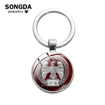 SPQR Roman Empire Key Chain Retro Pattern Glass Cabochon Keychain Senate and People of Rome Key Ring Motorcycle Car Accessories image