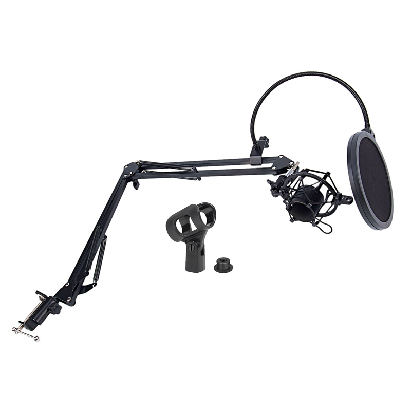 NB 35 Microphone Scissor Arm Stand and Table Mounting Clamp on Filter Windscreen Shield & Metal Mount Kit 2 Model|Microphone Accessories| |  - title=