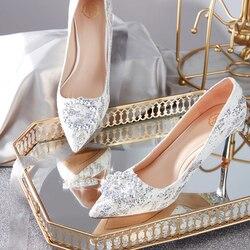 Bruiloft Schoen Meisje 2019 Bruidsmeisje Bruid Pailletten Zilver Kristal Enkele Schoen Franse Bruid Fijne hakken Tip hakken Hoge hakken Schoenen