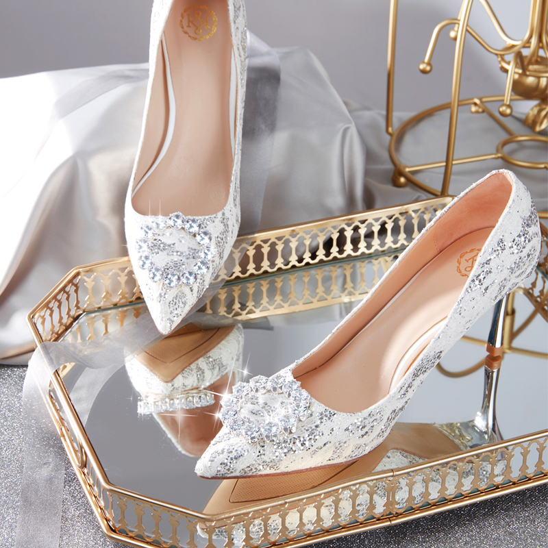 Wedding Shoe Girl 2019 Bridesmaid Bride Sequins Silver Crystal Single Shoe French Bride Fine-heeled Tip-heeled High-heeled Shoes