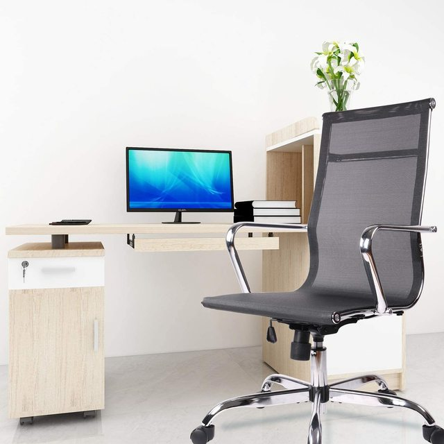 Home Office Chair, High Back Desk Chair Ergonomic Mesh Adjustable Task Computer Chairs with Rolling Casters 6