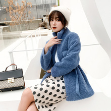Women  Woollen pure colour wool coats 2019 Autumn Winter Long Sleeve Casual Outwear Jackets Coat