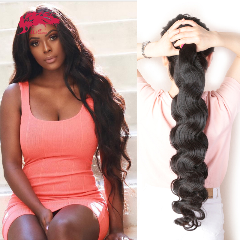 Ali rainha cabelo brasileiro cabelo onda do corpo cabelo tecer pacotes 100% humano remy cabelo p/9a cor natural 8