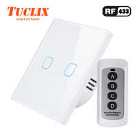 TUCLIX EU/UK Standard Touch Switch 2 Gang 1 Way Wall Light Touch Switch-Crystal Glass Switch Panel lace