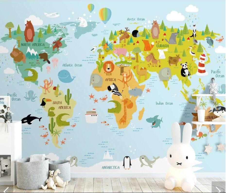 3D Carton Animal World Map Wallpaper Wall Mural Decals Wall Paper Rolls For Living Room Kids Bedroom Wallpapers Mural European