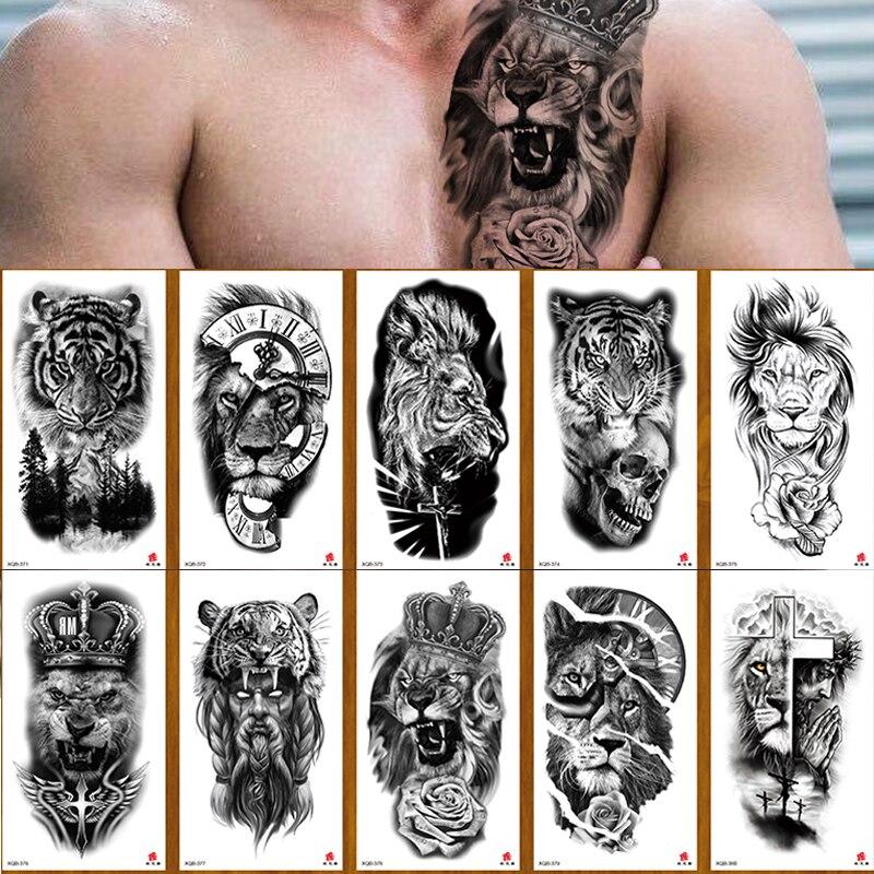 100 Piece Lion Tiger Snake Waterproof Temporary Tattoo Sticker Wholesales Flower Rose Flash Body Art Arm Sexy Women Sleeve Man