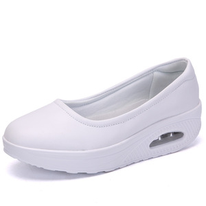 Image 2 - COWCOM Drop Sale Nurse Shoes Breathable Thick Bottom Shoes Womens Skin Spring Cushion White Casual Shallow Shoes 42 CYL
