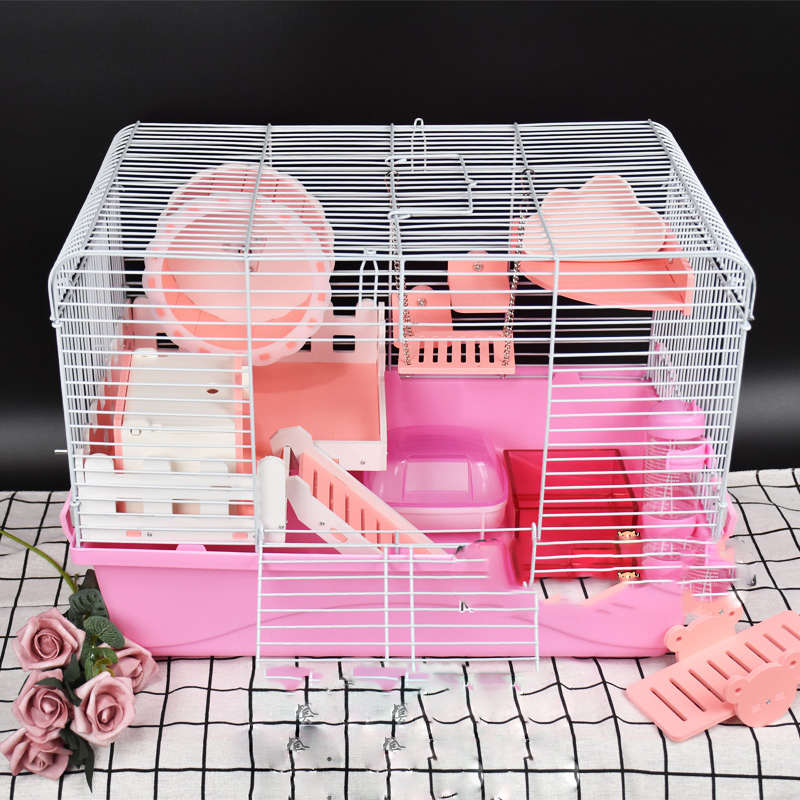 Pet Products Plastic Hamster Cage With Two-story Platform Villa Foldable Easy Installation And Removal Made By Wood