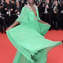 Lupita Nyong'o On Cannes Green V Neck Half Sleeve Elegant Formal Dress for Slae