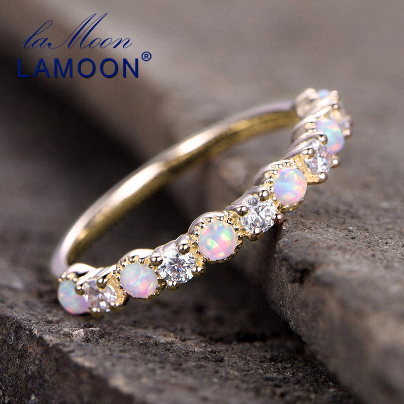 LAMOON 925 Sterling Silver Trendy Rings Birthstone Opal Ring In Engagement Bands For Women 14K Gold Plated Fine Jewelry LMRI125