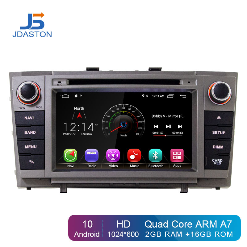JDASTON Android 10 Car Multimedia Player For Toyota Avensis/T27 2008-2013 2 Din Car Radio GPS Navigation DVD CD IPS Stereo WIFI
