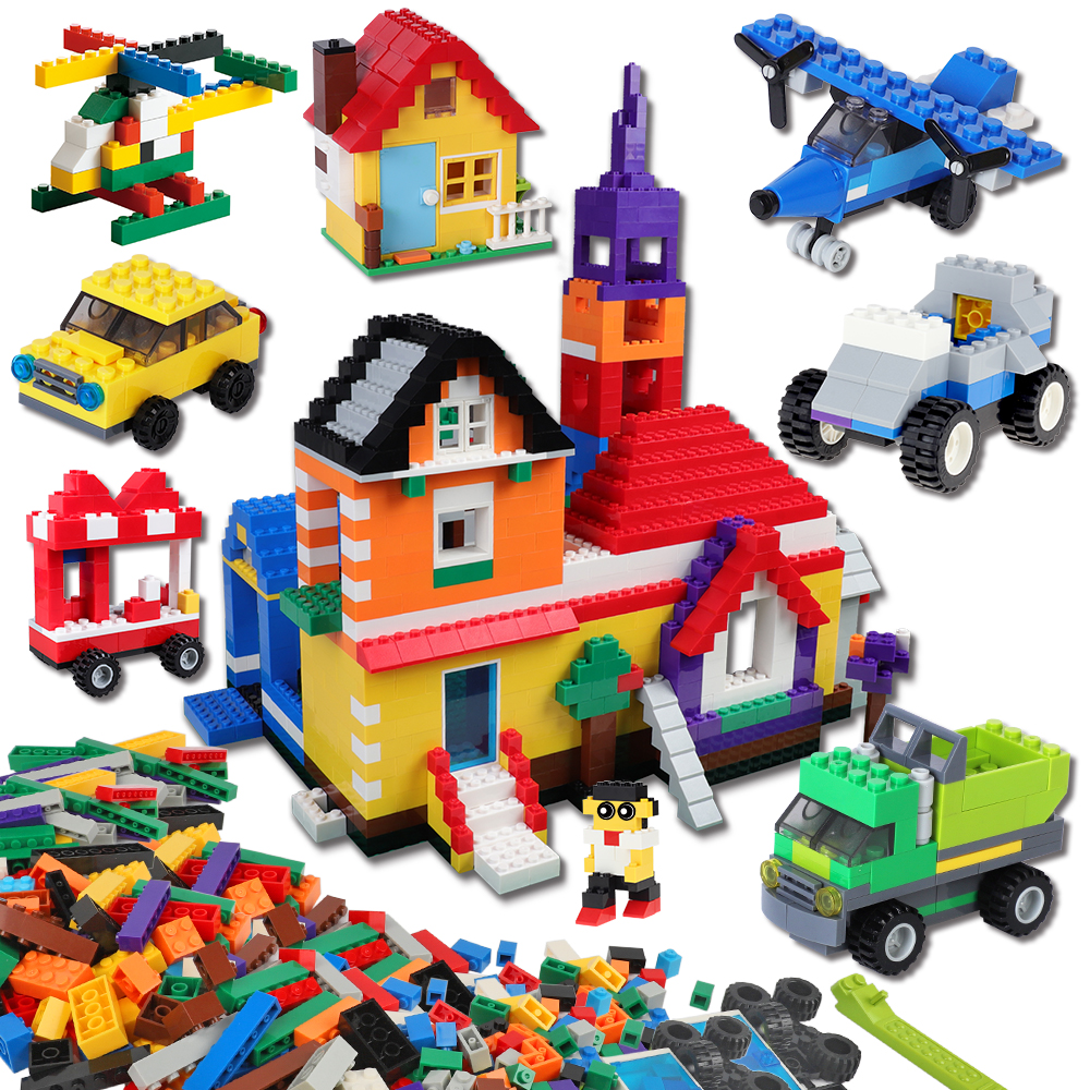 BURGKIDZ 1700 pcs Kids Classic Building Blocks Weapon Figure City Brick Creative Toys For Children Construction Block Base Plate
