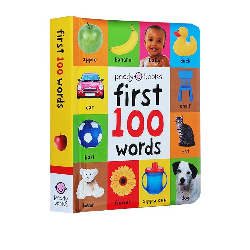 24 páginas/livros para crianças educação precoce primeiro 100 palavras em inglês livro de placa de capa dura crianças livros de imagem inglês|Educação & Ensino|   -