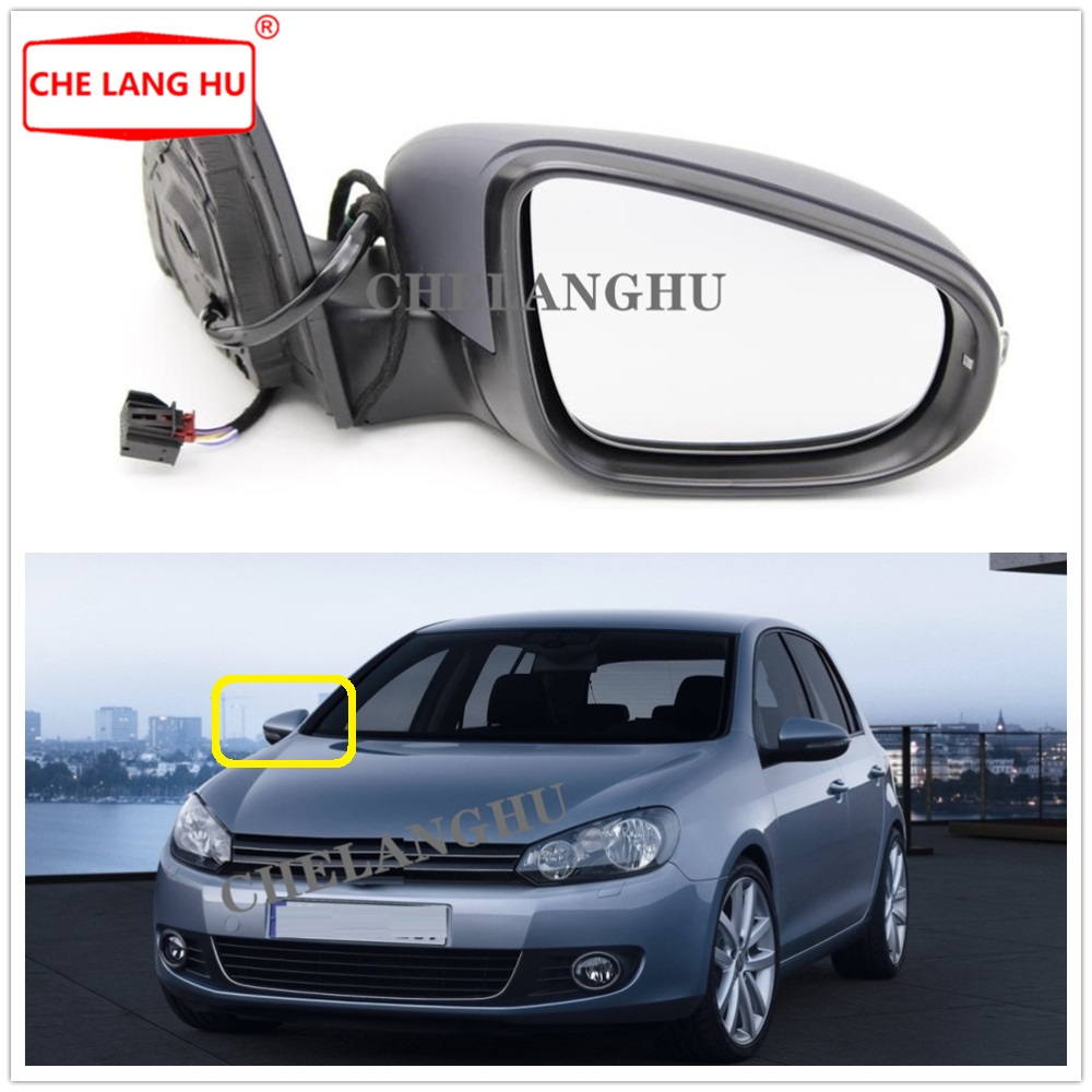 Right Side For VW Golf 6 A6 MK6 2009 2010 2011 2012 2013 Car  Rear Electric Adjustable And Heated Mirror With Turn Singal Light Mirror & Covers     - title=