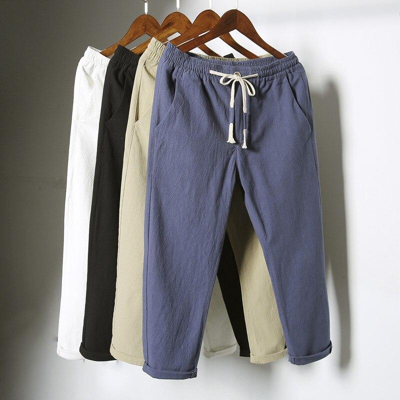 Produit le plus vendu en 2020 été coton et lin hommes neuf points pantalon tendance décontracté mince pantalon ample vêtements pour hommes Casual Pantalon    - AliExpress
