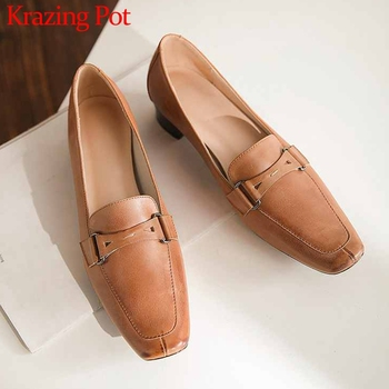 Krazing Pot genuine leather French vintage leisure shoes square toe med heels slip on fashion women spring daily wear pumps L07