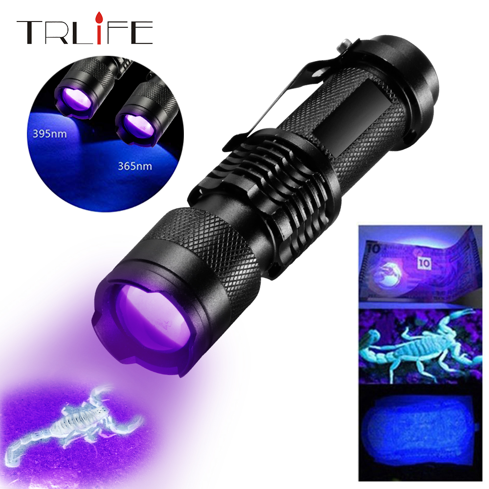 UV Flashlight 365nm/395nm Ultra Violet Light Zoom Mini UV Black Light Pet Urine Stains Detector Scorpion Use AA 14500 Battery