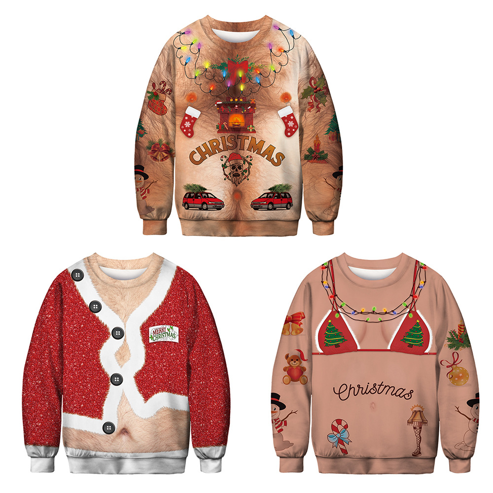 Kaguster Fashion Ugly 3D Christmas Print Mens Women Fun Hoodies Streetwear Jersey O-Neck Casual Pullovers Graphic Tops Clothing