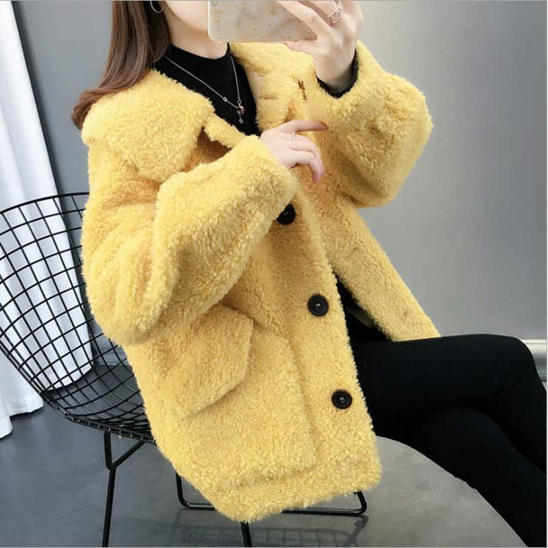 Bella philosophy green single breasted loose faux fake fur coat lady outwear suede winter warm jackets coats female yellow tops