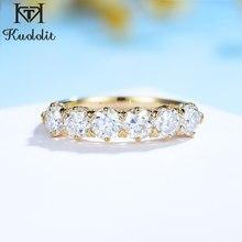 Kuololit 585 14K 10K OEC corte anillo de moissanita para las mujeres anillo de la mitad de la eternidad boda banda de compromiso 2021 nuevo
