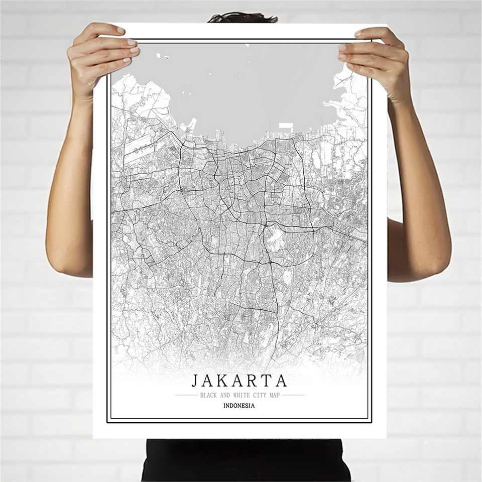 Indonesia Black and White City Map Poster Nordic Living Room