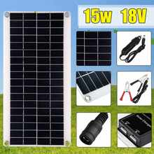 15W 18V Solar Cell High Efficiency Solar Panel with Car Charger USB 5V Solar Controller for Outdoor Camping LED Light waterproof