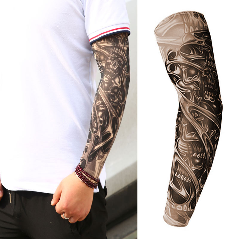 Outdoor Cycling Sleeve 3D Tattoo Printed Arm Cover Cycling Sun Protection Arm Cooling Sleeves Riding Sleeves Arm Protection Arm