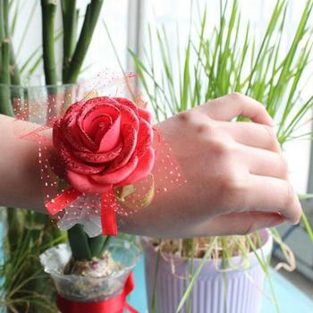 Wedding Bracelet Rose Flower Shiny Sequins Bridesmaid Sisters Hand Wrist Corsage image