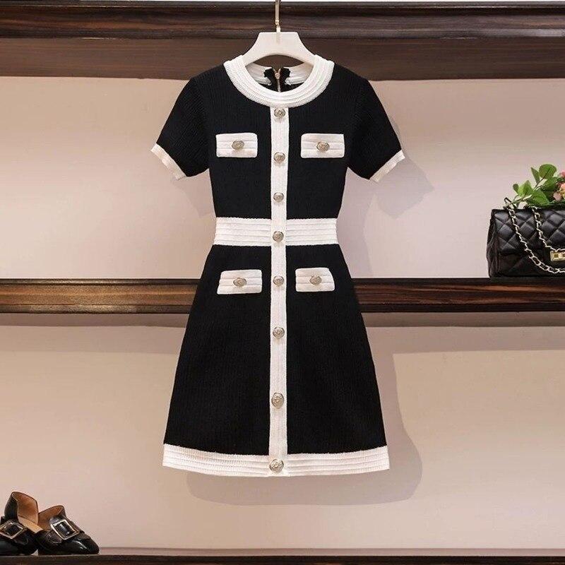 Женское трикотажное платье-свитер, элегантное черное платье большого размера с коротким рукавом в Корейском стиле, осень 2020