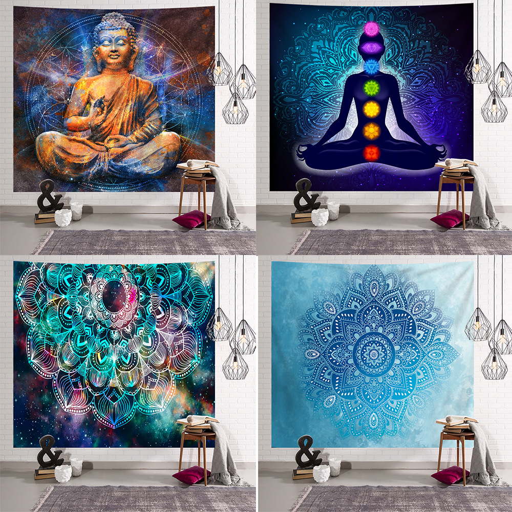 Large 200x150cm Mandala Tapestry Indian Tai Chi Hippie Bohemian Decorative Wall Hanging Carpet Yoga Mat Home Bedroom Art Carpet