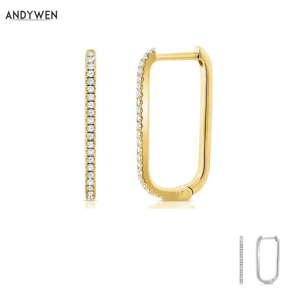 ANDYWEN 925 Sterling Silver Gold Hoop Earring Crystal Long Hole Huggies Loops Clips For 2019 Fashion Rock Punk Women Jewellery